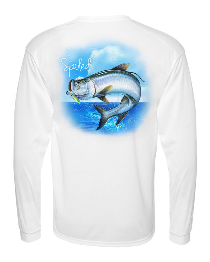Performance Long Sleeve White with Spooled Tarpon SPF-30