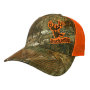 BuckedUp Realtree EDGE Camo with Safety Orange Mesh Snapback