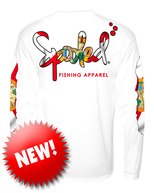 NEW Long Sleeve White with Spooled Florida Flag Logo SPF-30