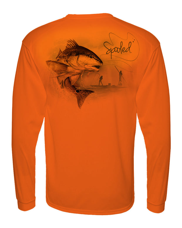 Performance Long Sleeve Orange with Spooled Redfish SPF-30