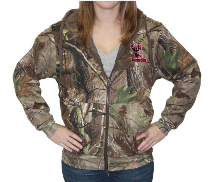 Zipper Hoodie Realtree APG Camo with Pink Logo with Embroidered Logo
