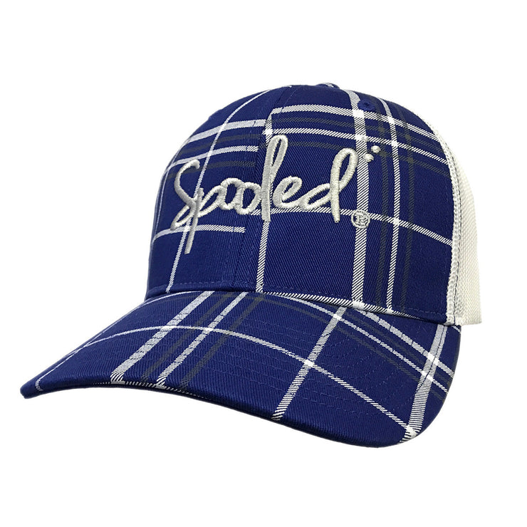 Spooled Blue Plaid with White Mesh Snapbacks