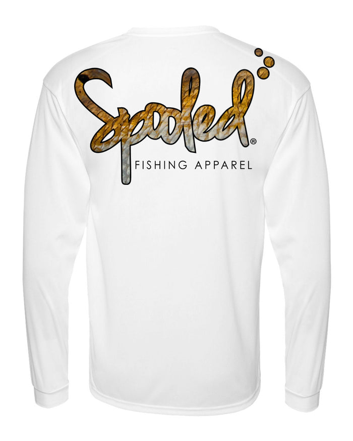 Performance Long Sleeve White with Spooled Redfish Skin Logo SPF-30