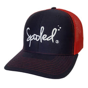 Spooled Navy Blue with Red Mesh Snapbacks