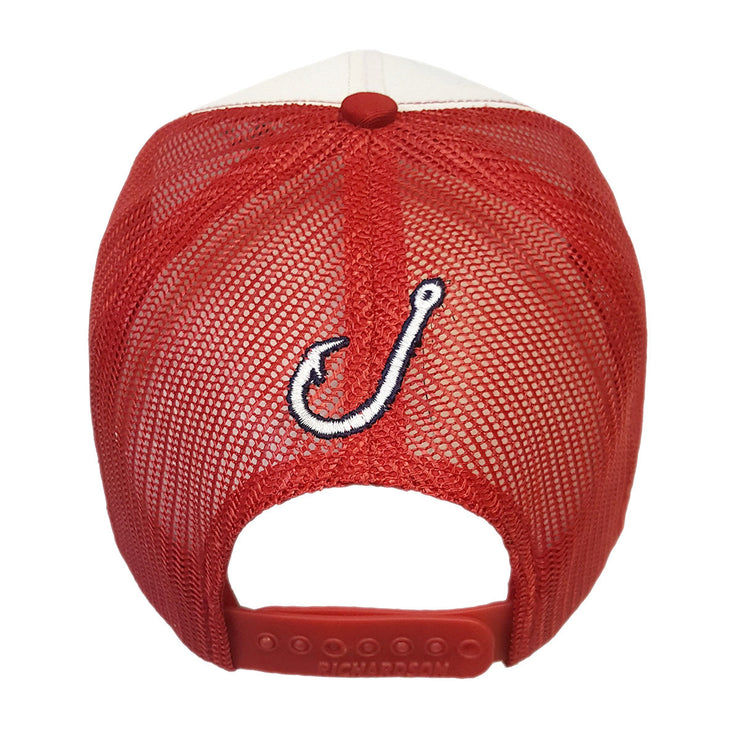 Spooled White with Red Mesh Snapbacks