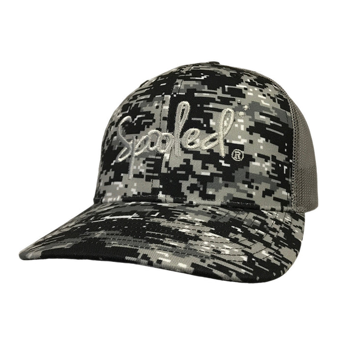 Spooled Digital Grey and Black Camo with Grey Mesh Snapbacks