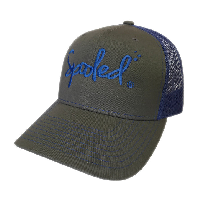 Spooled Grey with Royal Blue Mesh Snapbacks