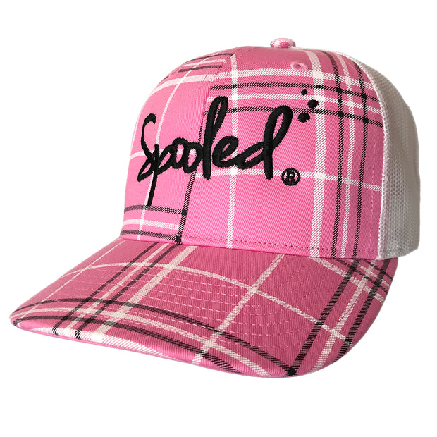 Spooled Black Pink Plaid with White Mesh Snapbacks