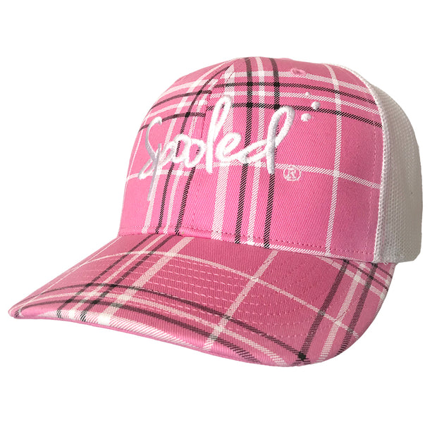 Spooled White Pink Plaid with White Mesh Snapbacks