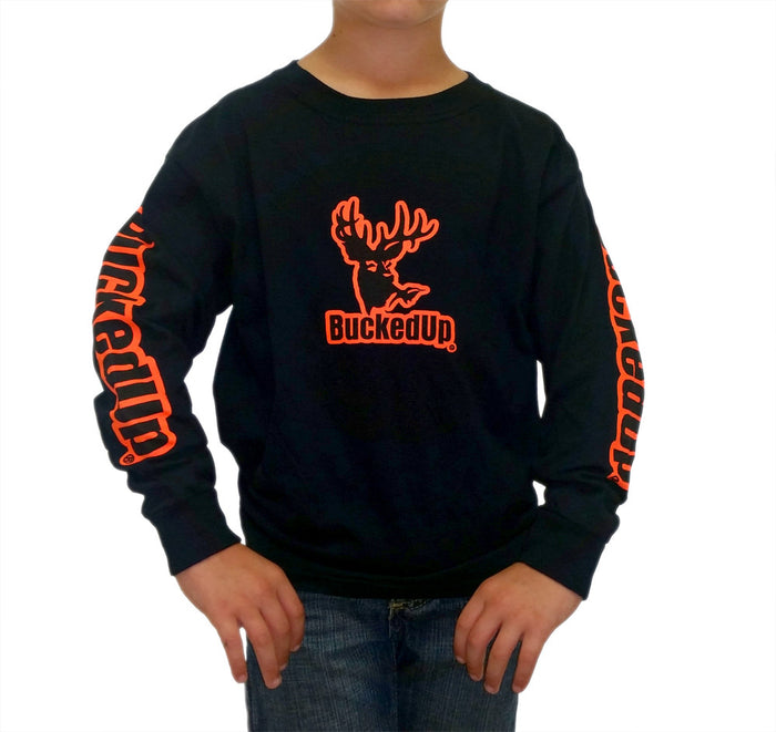 Youth Long Sleeve Black with Orange Logo