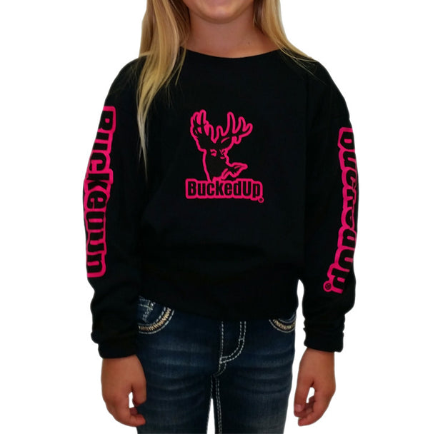Youth Long Sleeve Black with Pink Logo