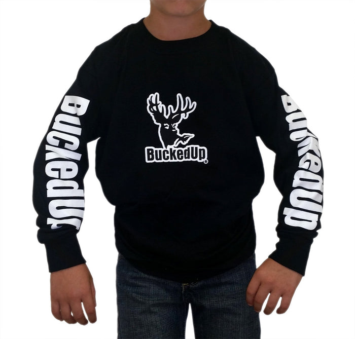 Youth Long Sleeve Black with White Logo