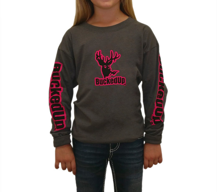 Youth Long Sleeve Charcoal Grey with Pink Logo