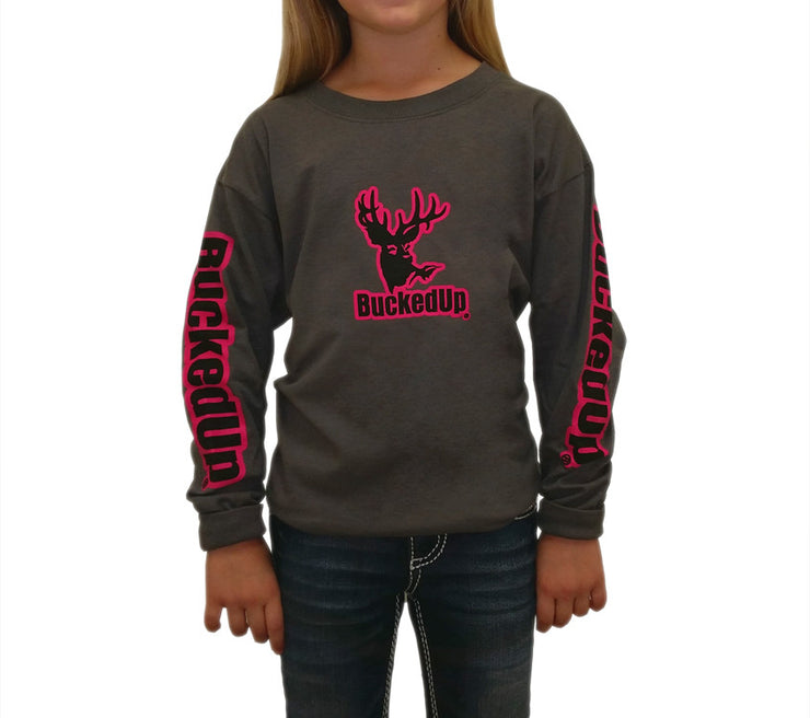 Long Sleeve Charcoal Grey with Pink Logo