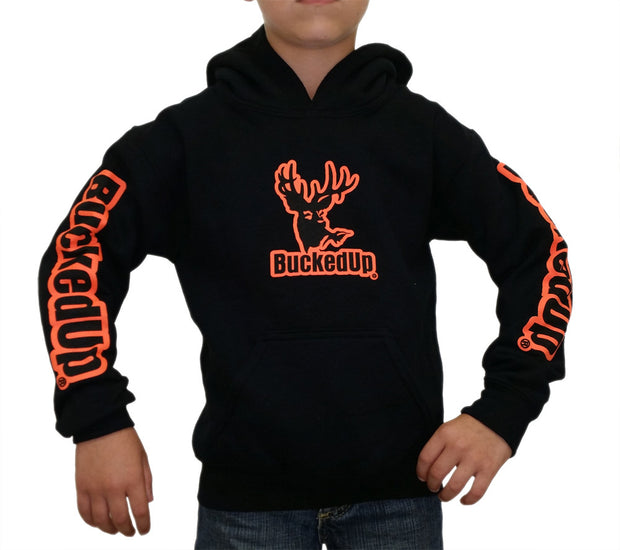 Youth Pullover Hoodie - Black with Orange Logo
