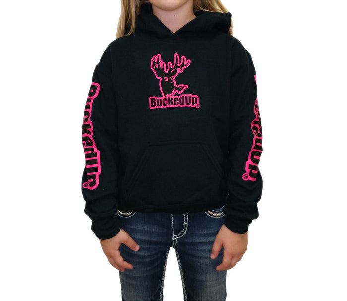 Youth Pullover Hoodie - Black with Pink Logo