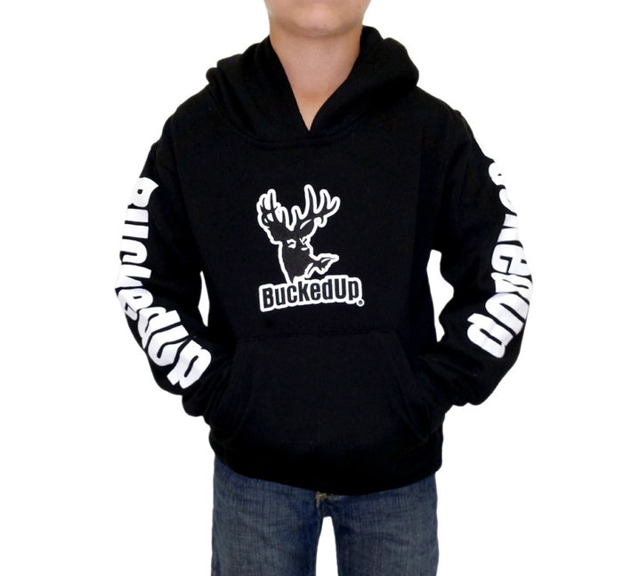 Youth Pullover Hoodie - Black with White Logo