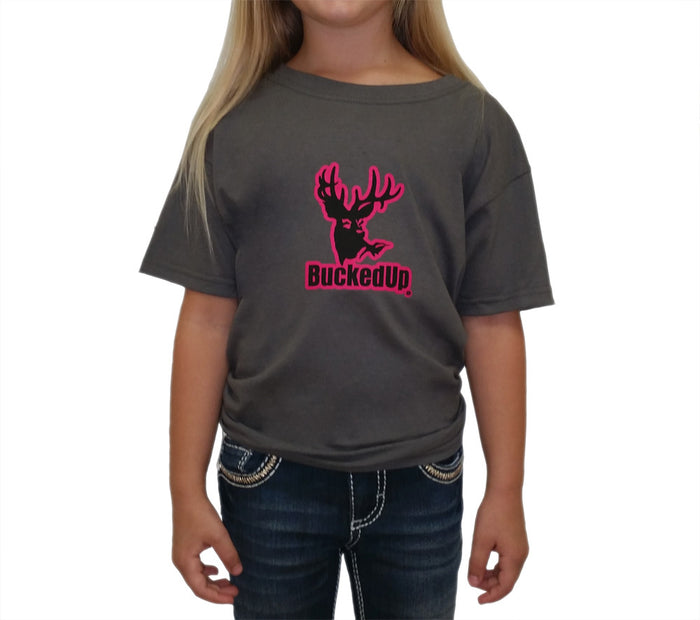 Youth Short Sleeve Charcoal Grey with Pink Logo