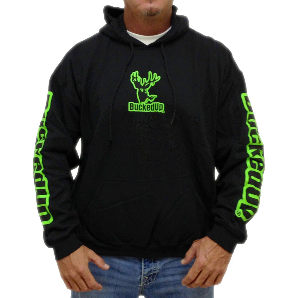 Pullover Hoodie - Black with Neon Green Logo