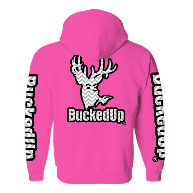 Pullover Hoodie - Safety Pink with Chevron Logo