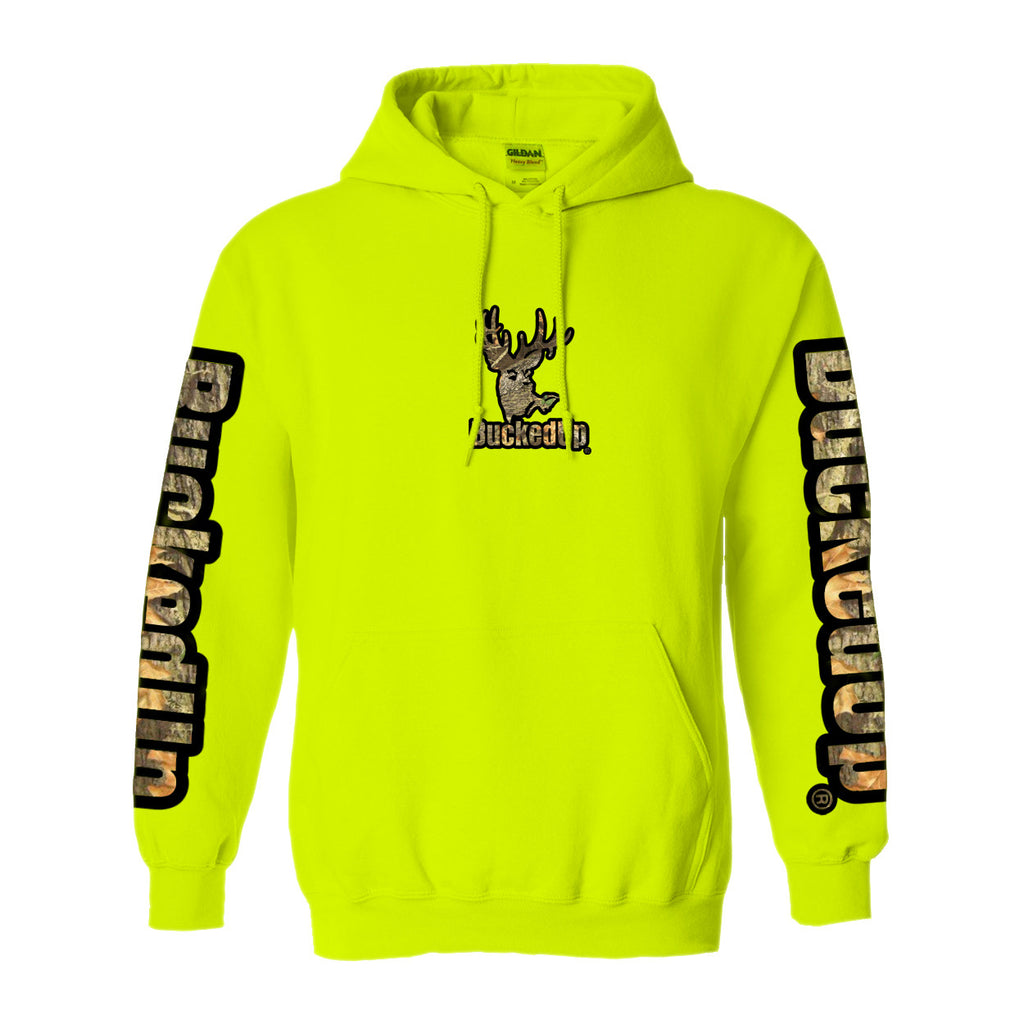 Pullover Hoodie Safety Green with Black Camo Logo