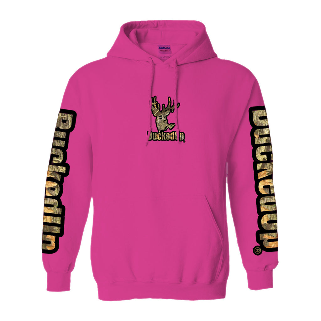 Pullover Hoodie Berry Pink with Black Camo Logo