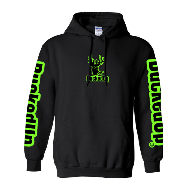 Youth Pullover Hoodie - Black with Neon Green Logo