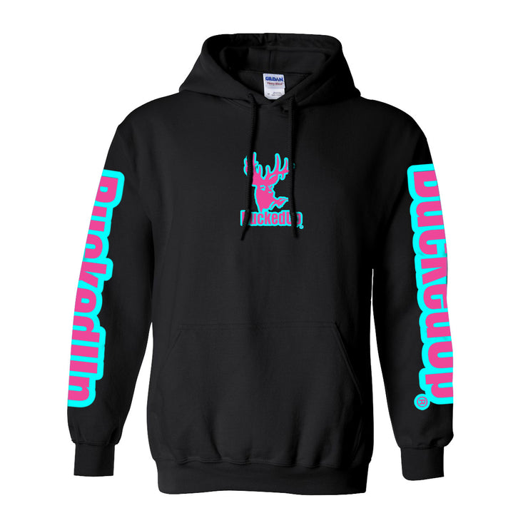 Pullover Hoodie - Black with Aqua Blue Pink Logo