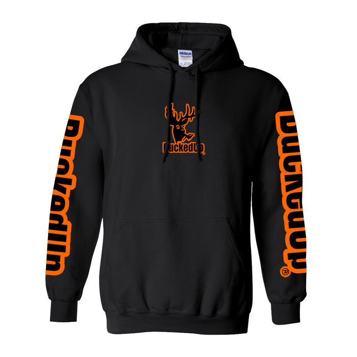 Pullover Hoodie - Black with Orange Logo