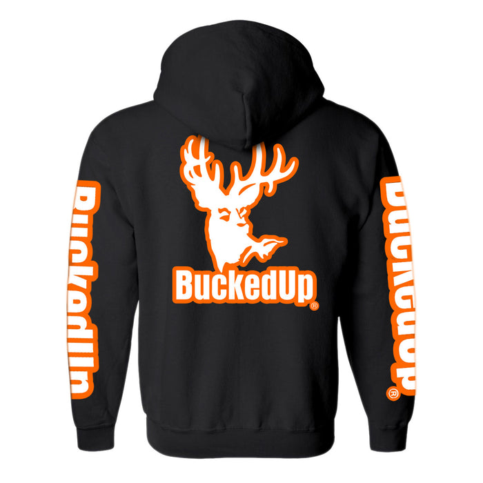 CLEARANCE Pullover Hoodie - Black with Orange White Logo