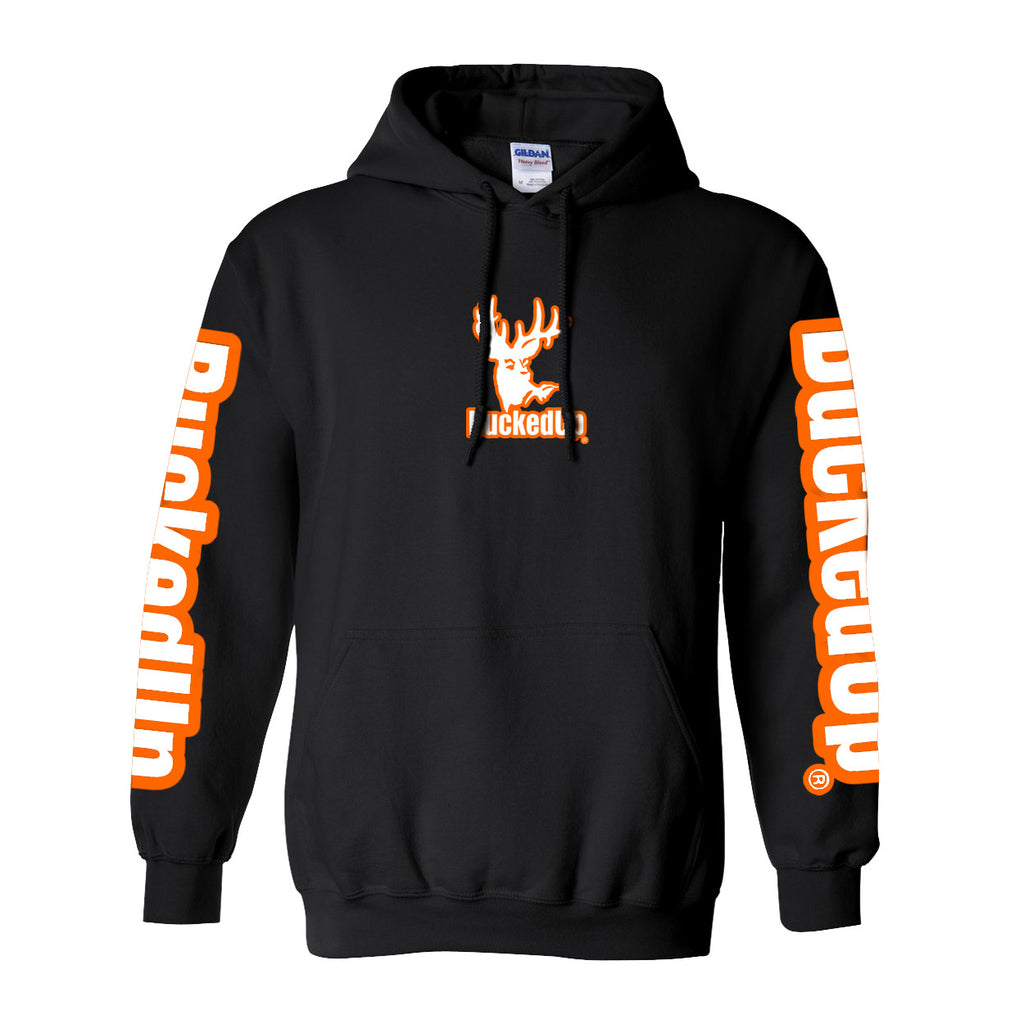 Pullover Hoodie - Black with Orange White Logo