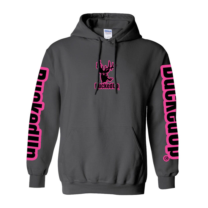 Pullover Hoodie - Charcoal Grey with Pink Logo