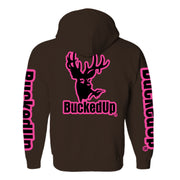 Pullover Hoodie - Chocolate with Pink Logo