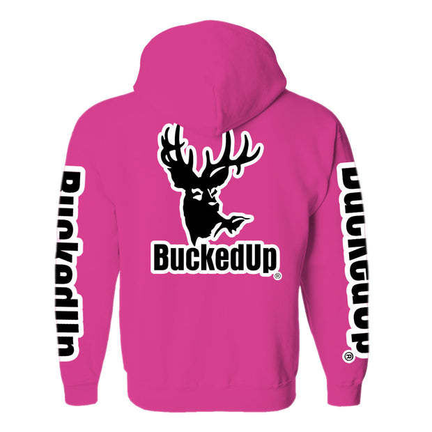 Pullover Hoodie - Berry Pink with White Logo