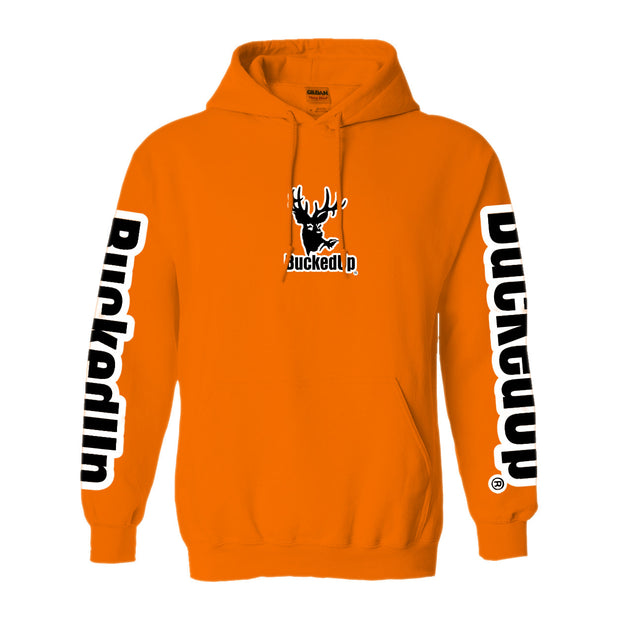 Pullover Hoodie - Safety Orange with White Logo