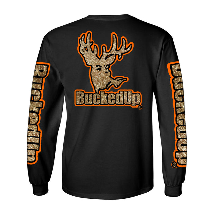 Long Sleeve Black with Orange Buckskin Logo