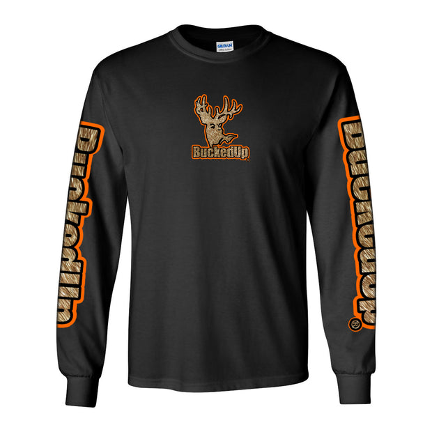 Long Sleeve Black with Buckskin Logo