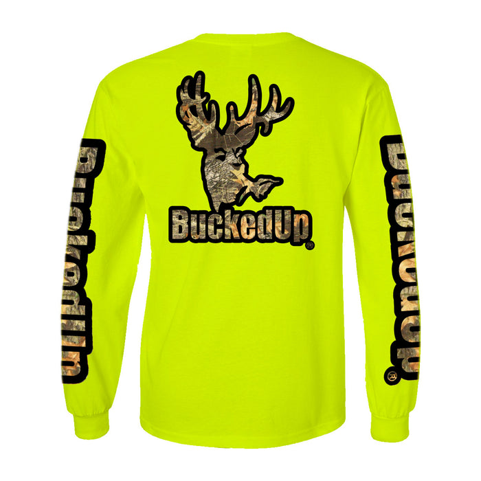 Long Sleeve Safety Green with Black Camo Logo