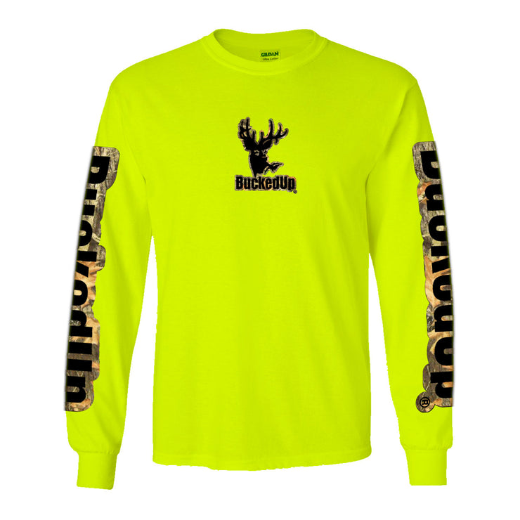 Long Sleeve Safety Green with Camo Black Logo