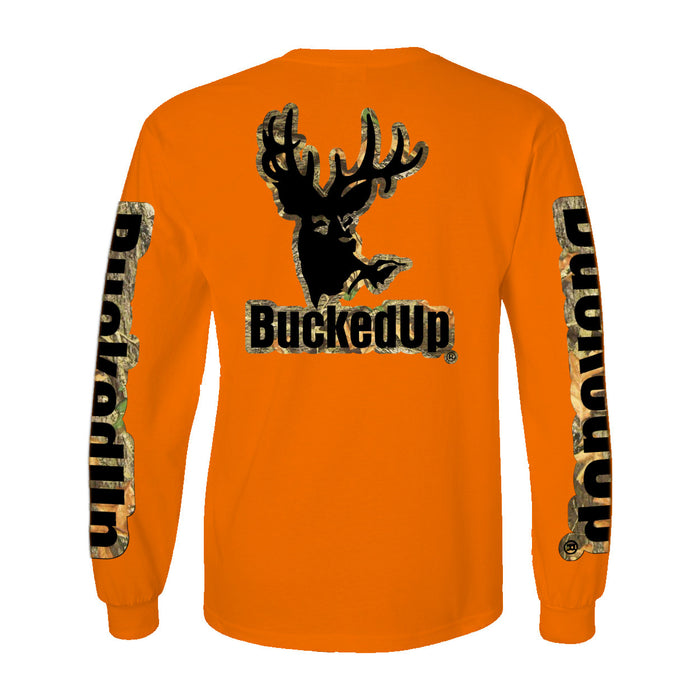 Long Sleeve Orange with Camo Black Logo