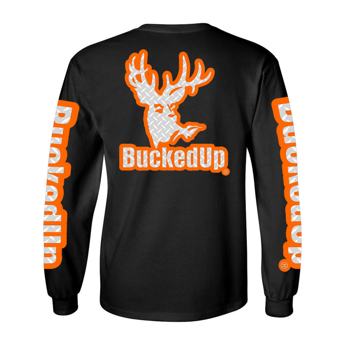 Long Sleeve Black with Orange Diamond Plate Logo
