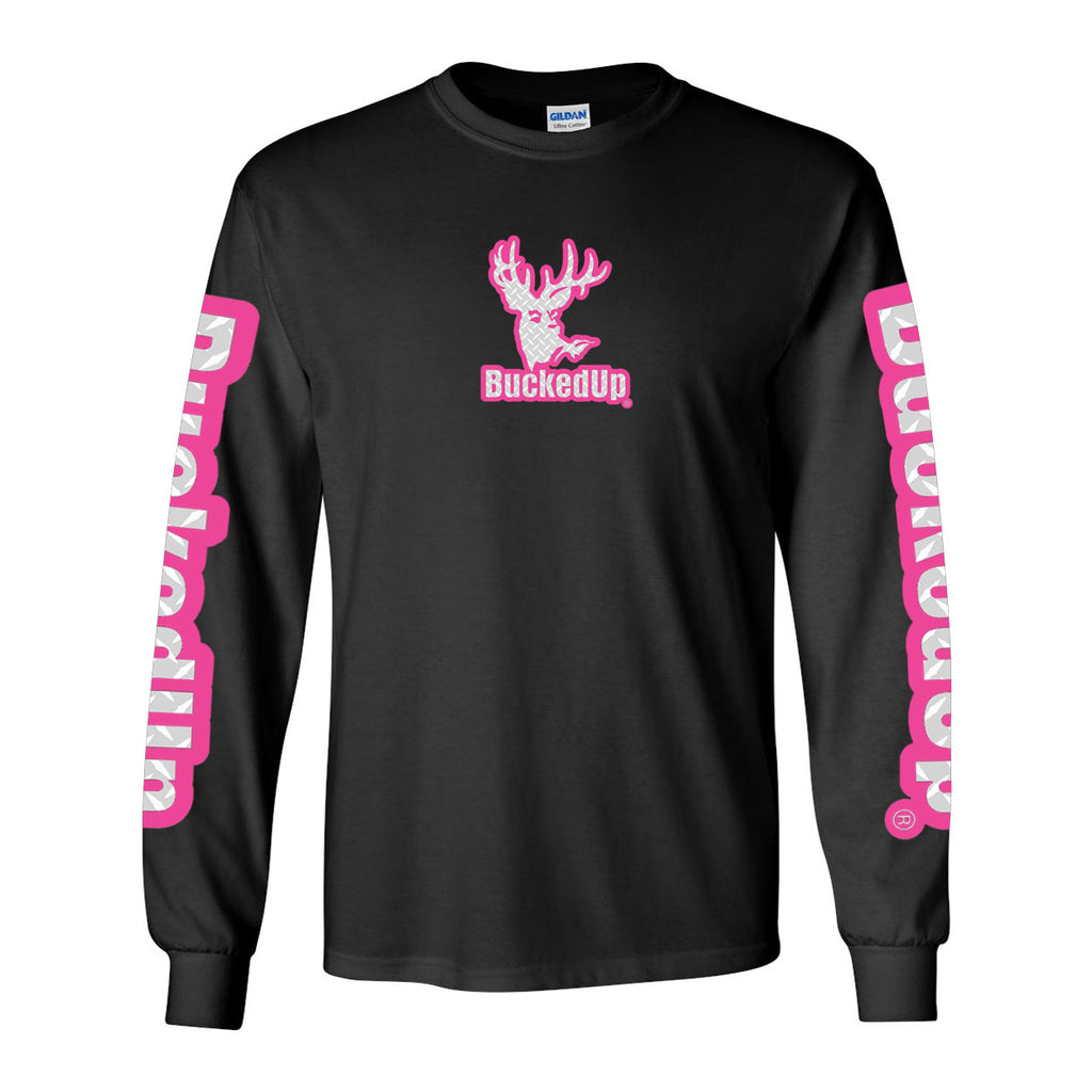Long Sleeve Black with Pink Diamond Plate Logo