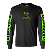 Youth Long Sleeve Black with Green Logo