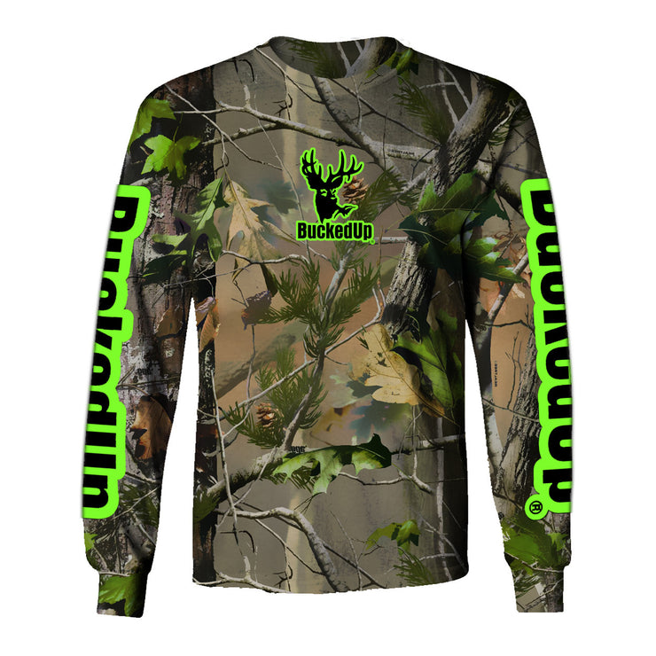 Youth Long Sleeve Realtree APG Camo with Green Logo