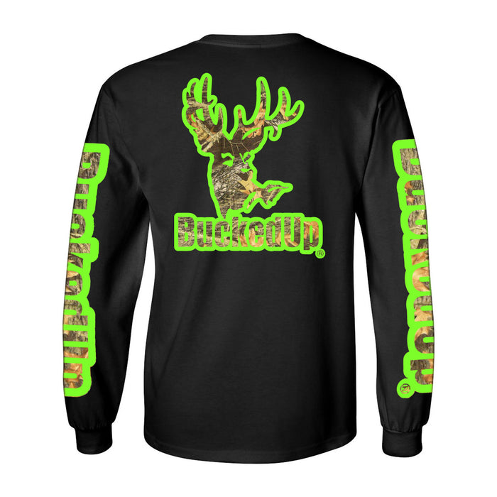 Long Sleeve Black with Green Camo Logo