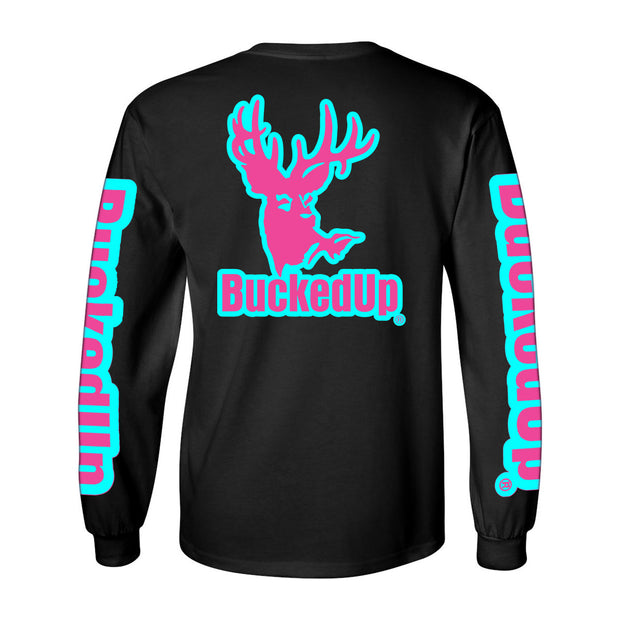 Long Sleeve Black with Aqua Blue Pink Logo