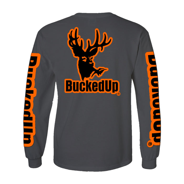 Long Sleeve Charcoal Grey with Orange Logo
