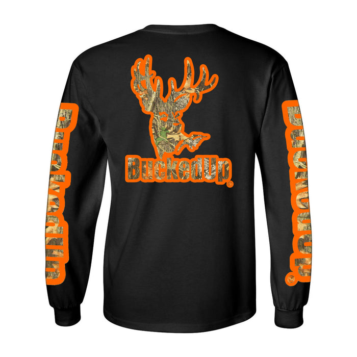 Long Sleeve Black with Orange Camo Logo