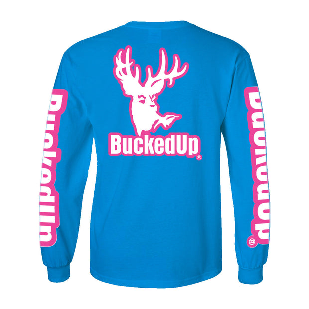 Long Sleeve Sapphire with Pink Logo