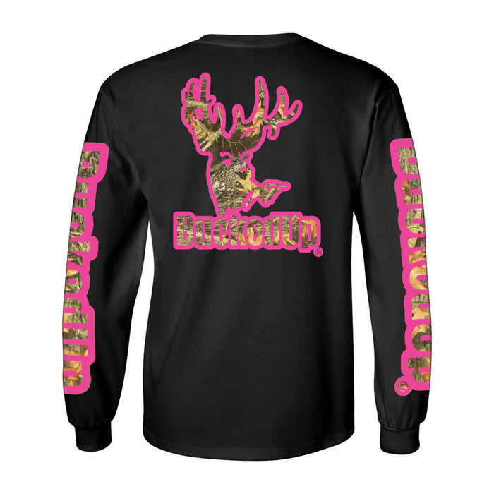 Long Sleeve Black with Pink Camo Logo